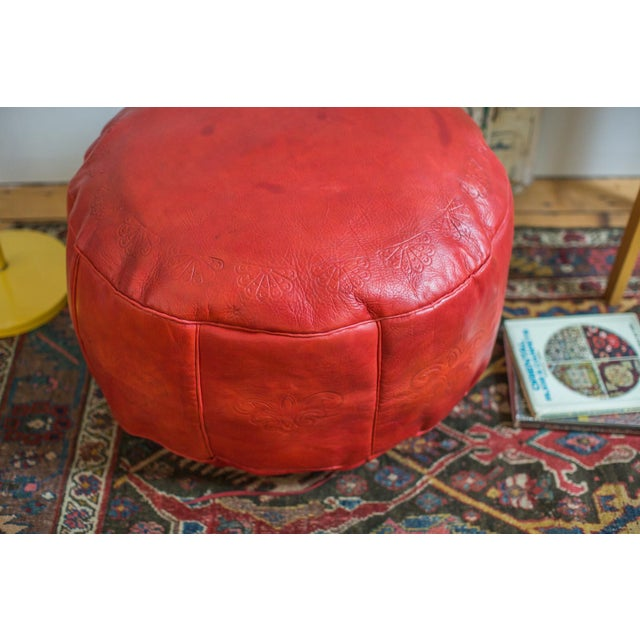 Antique Revival Cranberry Red Leather Pouf Ottoman - Image 3 of 8