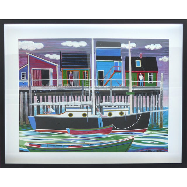 Mid-Century Modern Nautical Gouache Painting - Image 1 of 9