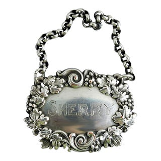 Silver Plate Sherry Hanging Liquor Tag