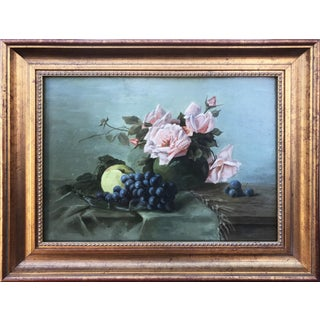 19th C French Roses & Fruit Still Life Painting