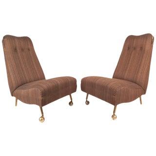 Mid-Century Modern High Back Slipper Chairs - a Pair