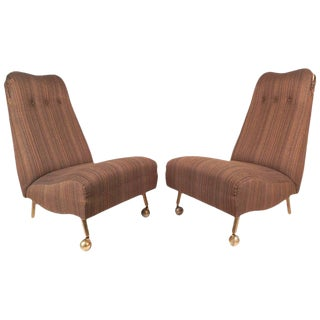 Mid-Century Modern High Back Slipper Chairs - a Pair