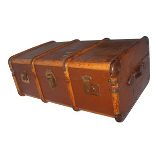 Vintage Canvas & Wood English Trunk