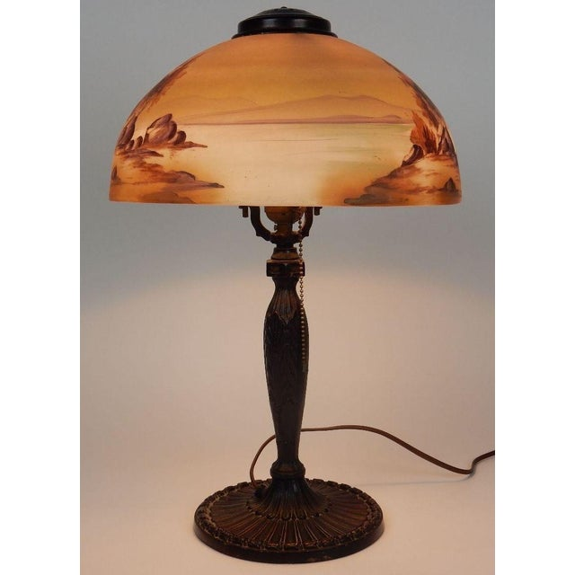 Antique Signed Pittsburgh Electric Reverse Painted Table Lamp - Image 3 of 11