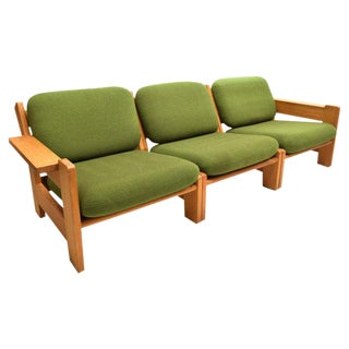 Danish Modern Beechwood Living Room 4-piece Set with Leather Straps, Circa 1970