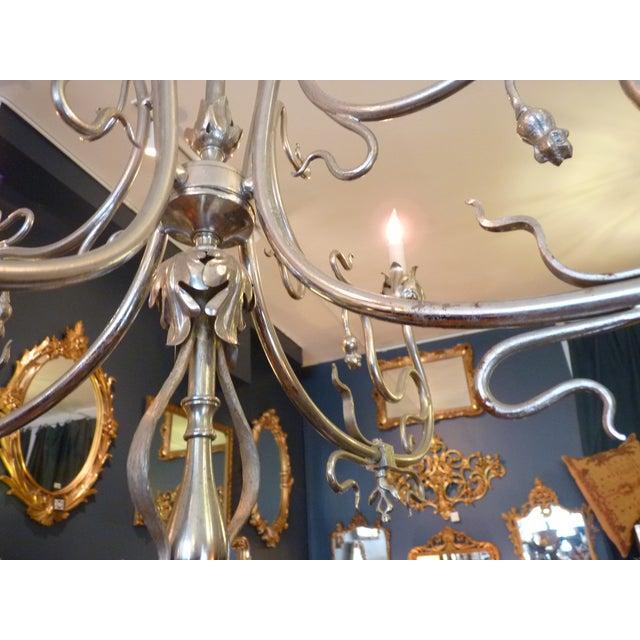 Art nouveau nickel chandelier chairish for Chandelier art nouveau