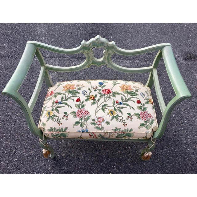 Antique Green French Provincial Carved Wood Small Bench Settee - Image 8 of 11