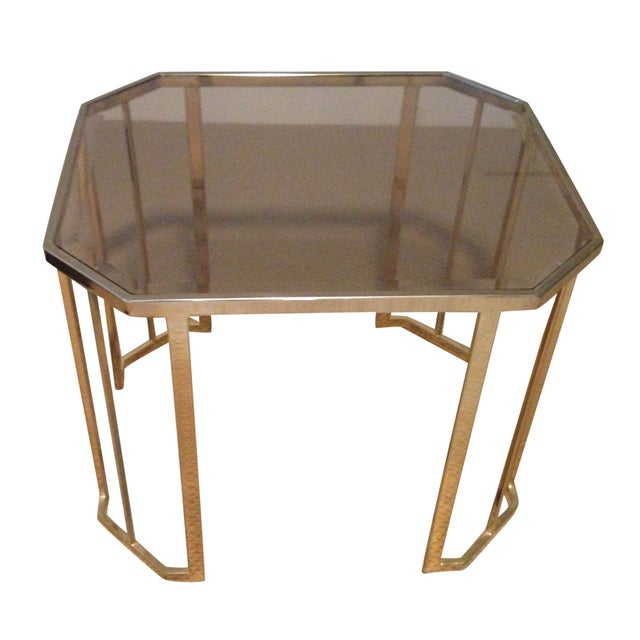 Glass & Brass Side Table - Image 1 of 7
