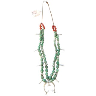 Native Turquoise, Silver & Coral Necklace