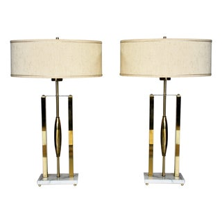 Vintage Brass & Marble Lamps - A Pair
