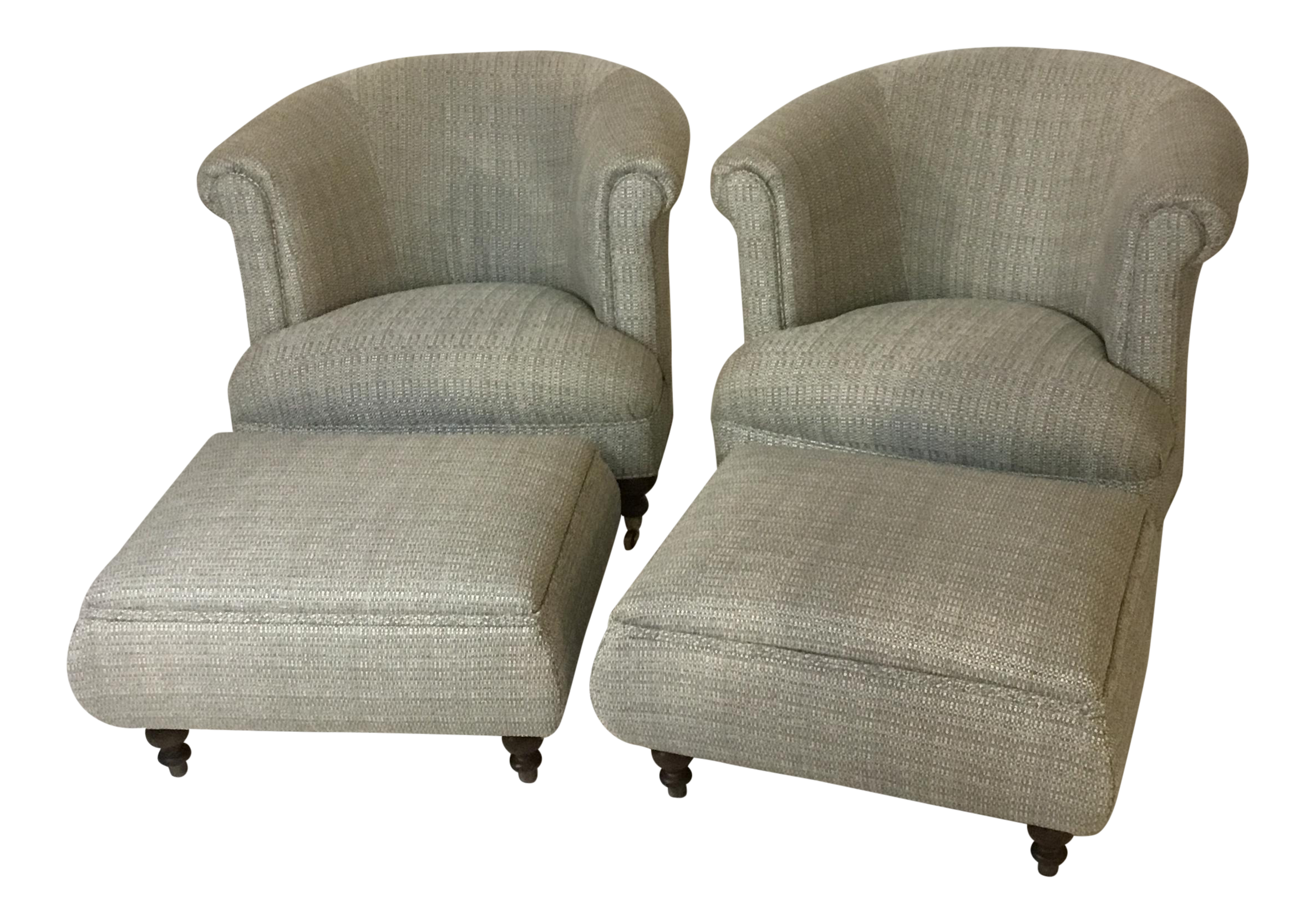 Mid Century Club Chairs And Ottomans   4 Pieces