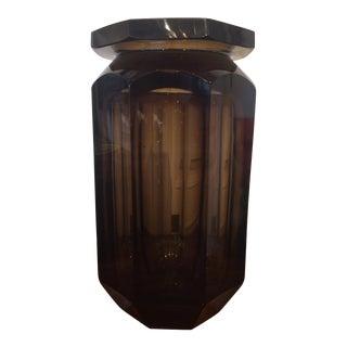 Duam Nancy Amber Octagonal Faceted Crystal Vase