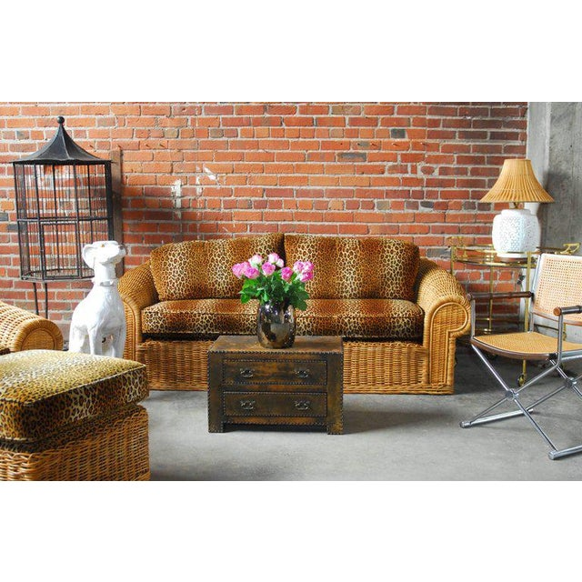 Michael Taylor Inspired Wicker Lounge Chair and Ottoman - Image 10 of 11