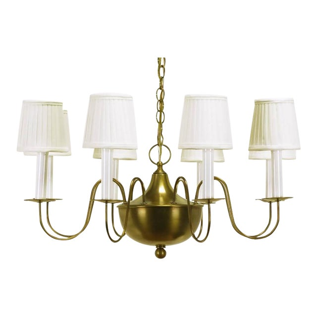 Fine Hand-Spun Brass Eight-Light Chandelier with Delicate Arms - Image 1 of 9