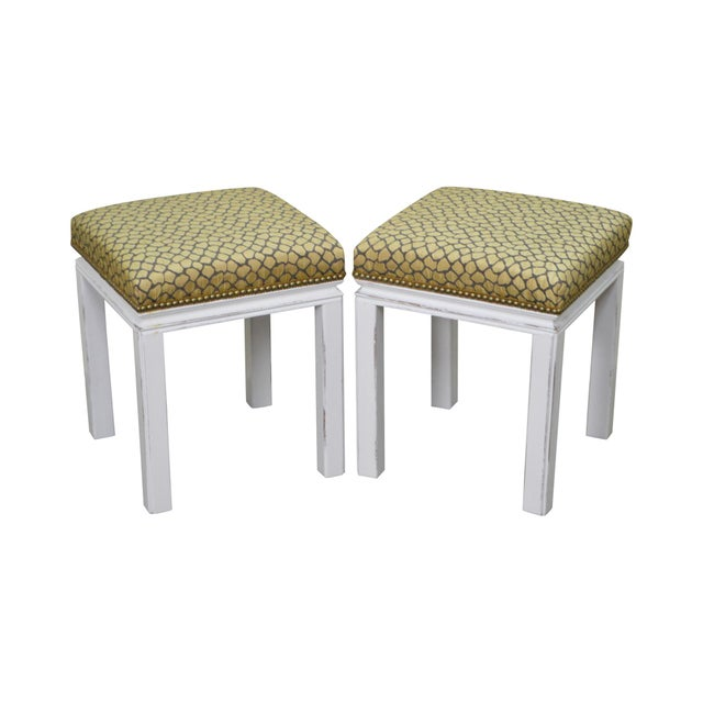 Mid Century Pair of Custom Painted Square Stools Benches - Image 11 of 11