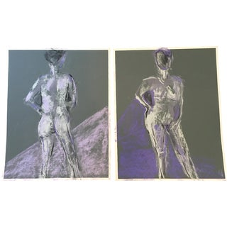 Nudes in Pastel On Sandpaper - A Pair
