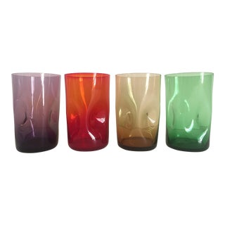 Mid-Century Modern Italian Hand Blown Dimple Glasses - Set of 4