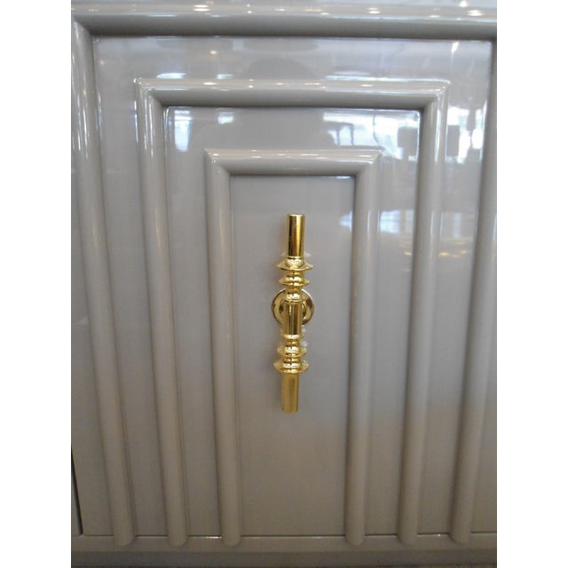 ModShop Art Deco Gray Lacquer W/ Gold Pulls Sideboard - Image 5 of 9