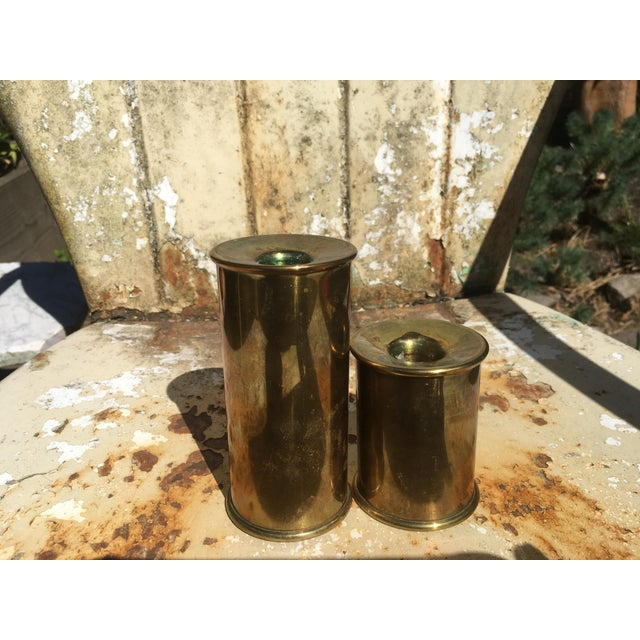 Vintage Cylindrical Brass Candle Holders - A Pair - Image 5 of 6