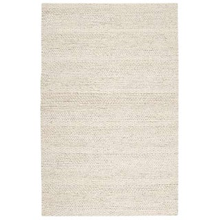 Hand Woven Cream Wool Rug - 8' x 10'