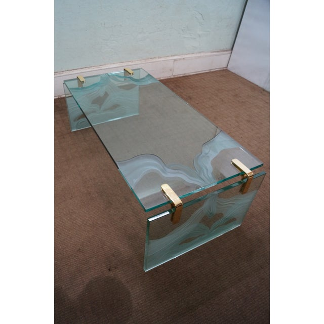 Custom Etched Glass Coffee Table - Image 6 of 10