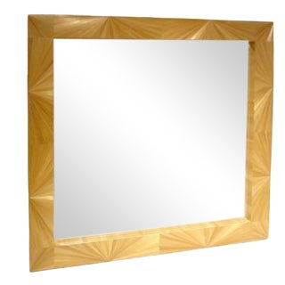 A Large Wall Mirror in Straw Marquetry in the style of Jean Michel Frank