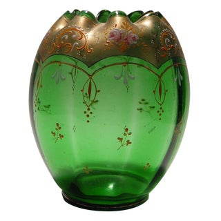 Green Glass Enameled Vase