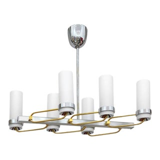 Mid-Century Modern Two-Tone Chandelier with Glass Shades