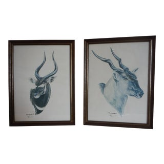 """Savannah Animal's"" Pen & Ink Drawings - A Pair"