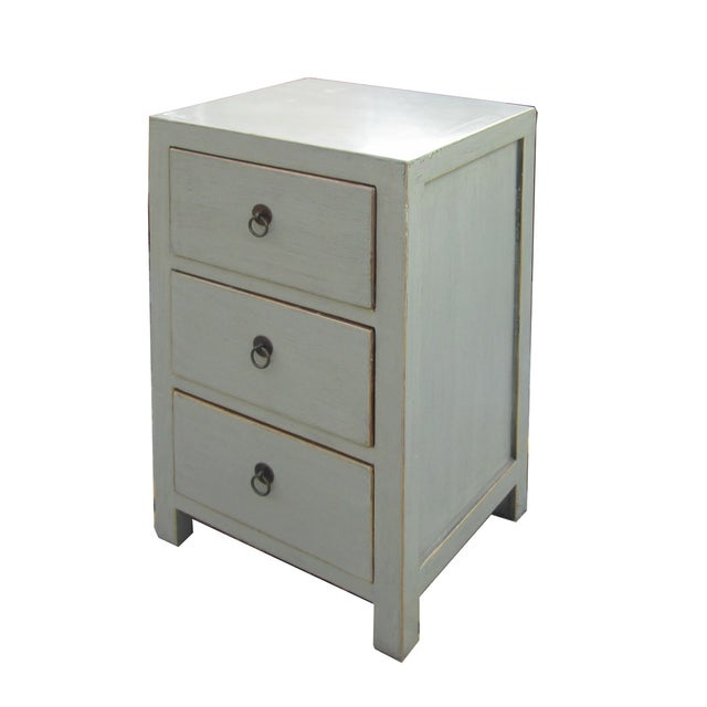 Image of Chinese Light Gray 3-Drawer Cabinet Table