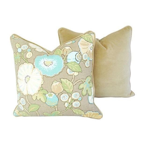 Designer Linen/Velvet Floral Pillows - A Pair - Image 4 of 7