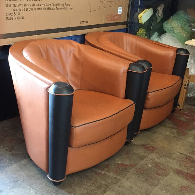 Butterscotch Leather Deco Chairs - Pair - Image 3 of 5