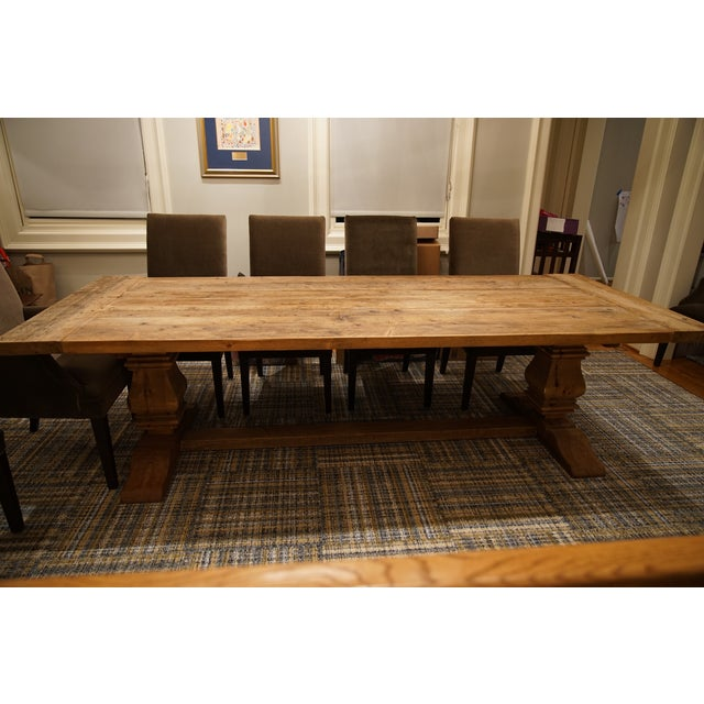 Restoration Hardware Salvaged Wood Trestle Table   Image 2 of 11. Restoration Hardware Salvaged Wood Trestle Table   Chairish