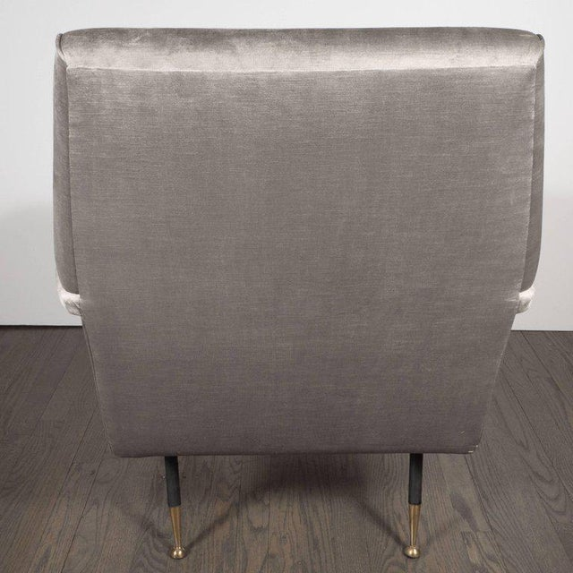 Italian Mid-Century Modern Lounge Chair with Black Enamel Legs and Brass Feet - Image 5 of 9