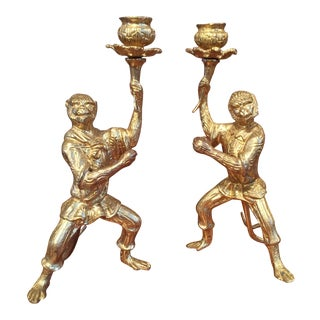 Pair of Gilt Bronze Monkey Candlesticks