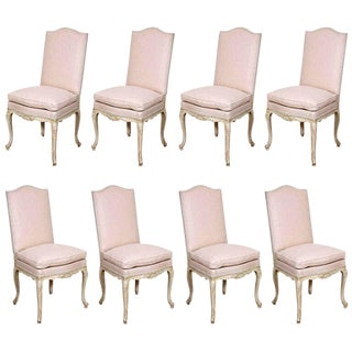 Set of Eight Painted French Dining Chairs