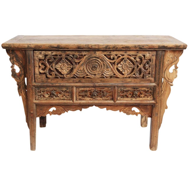 Antique Carved Mongolian Console - Image 1 of 5