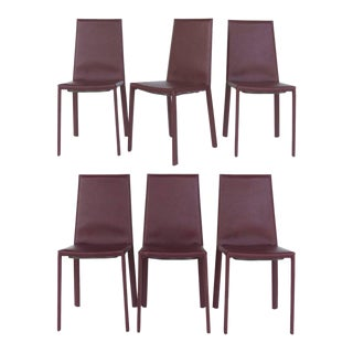 Arrben of Italy Leather Clad High Back Salinas Two Dining Chairs, Set of Six