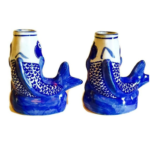 Cobalt Blue Ceramic Koi Fish Bud Vases - Pair - Image 5 of 6