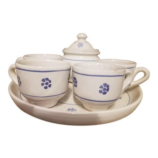 Blue & White Italian Espresso Set - Set of 7