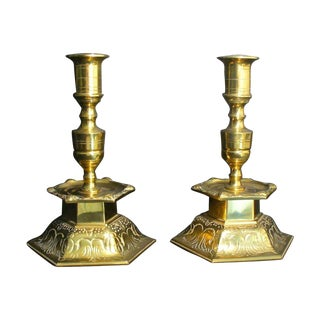 Ystad Metall Swedish Brass Candleholders - A Pair