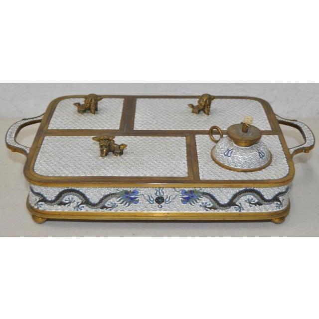 Image of Blue & White Cloisonne Enameled Desk Set