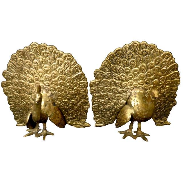 Image of Brass Peacock Figurines - Pair