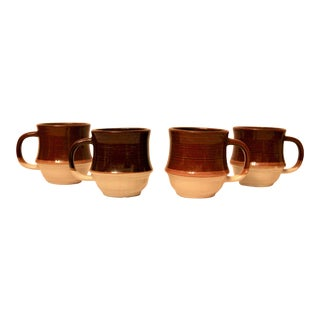 Mid-Century Pottery Coffee Mugs - Set of 4