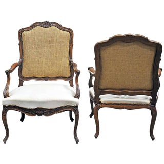 Pair of Louis XV Style Fauteuil in Walnut