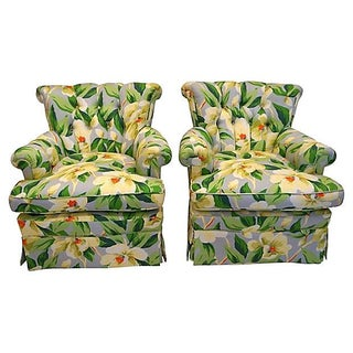 1940s Vintage Oversized Floral Print Chairs - Pair