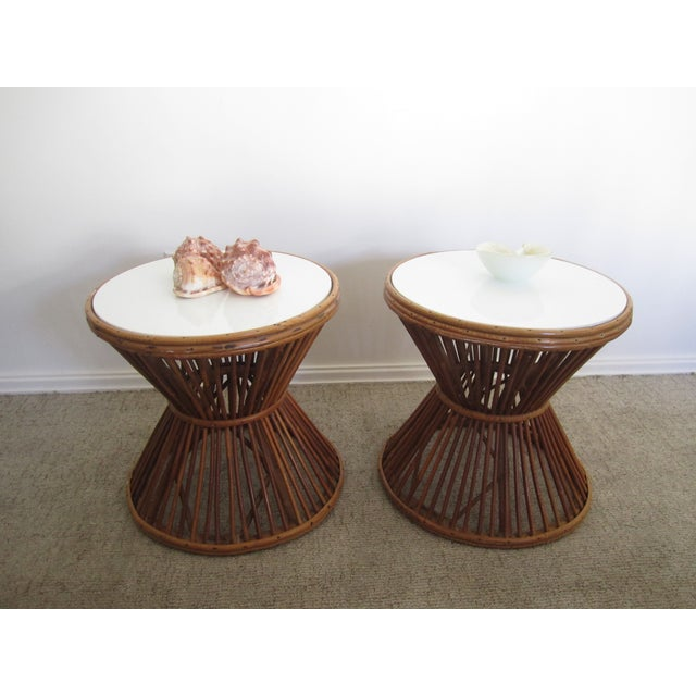 Franco Albini-Style Rattan Side Tables - A Pair - Image 4 of 8