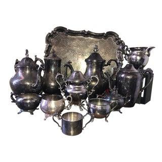 Antique Silver Serving Set - Set of 12