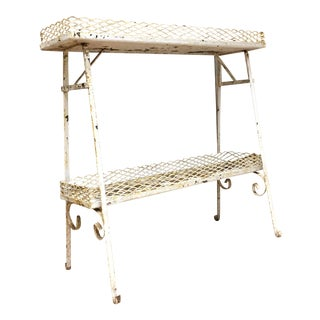 Vintage Shabby White Painted Two Tier Metal Plant Stand