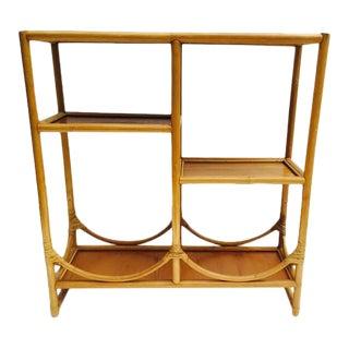 Vintage Bamboo Etagere Bookcase Shelving Unit